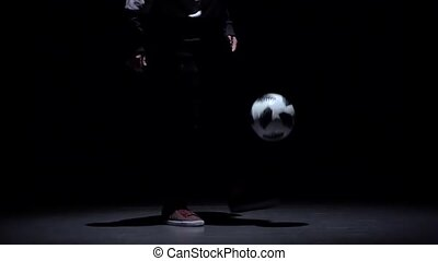 Football freestyle. Slow motion, professional soccer...