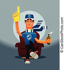 Football game fan happy smiling man character sitting on home sofa and watching sport match on TV. Vector flat cartoon illustration