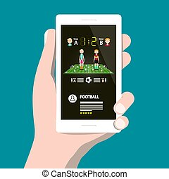 Football Game on Cellphone. Vector Soccer App on Smartphone.