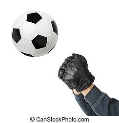 football, goal, balle, mains