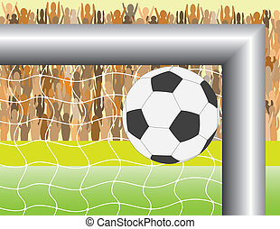 football goal - Goal. A ball targeting in football (soccer)...
