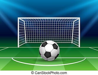 Football goal with soccer ball