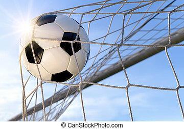 Football Goal, with sun and blue sky - Football or soccer ...