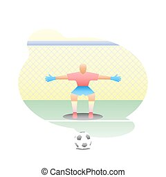 Football goalkeeper stands at the goal with a net in a half-sitting position with his arms apart to hit the penalty kick with the ball. Sport illustration in halftone.