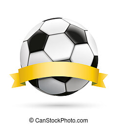 Football Golden Ribbon White Background