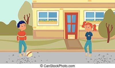 football, gosses, style., adolescents, garçon, avoir, yard, concept., illustration, plat, dessin animé, time., girl, été, vecteur, bon, jeu, jouer, home., jours, mignon, actif, enfants, outdoor., heureux