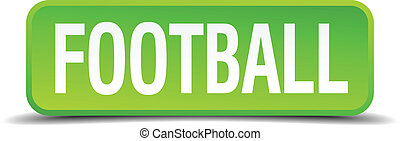 Football green 3d realistic square isolated button