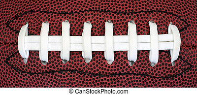 Football Grip - Closeup view of the grip on a leather...