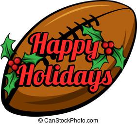 Football Happy Holidays Stacked