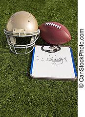Football Helmet Ball Clipboard and Whistle Portrait