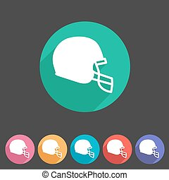 football helmet flat icon sign symbol logo label set
