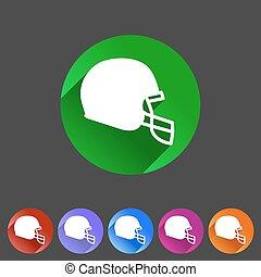 football helmet flat icon sign symbol logo label set