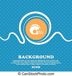 football helmet icon sign. Blue and white abstract background flecked with space for text and your design. Vector