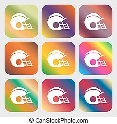 football helmet icon sign. Nine buttons with bright gradients for beautiful design. Vector