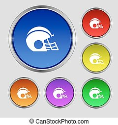 football helmet icon sign. Round symbol on bright colourful buttons. Vector