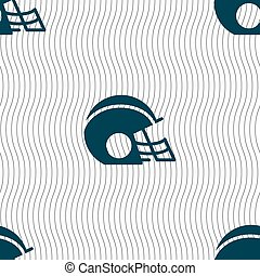 football helmet icon sign. Seamless pattern with geometric texture. Vector
