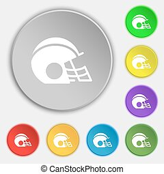 football helmet icon sign. Symbol on eight flat buttons. Vector