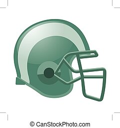 football helmet in green color with white stripe