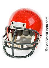 Football Helmet Isolated - Weathered old football helmet,...