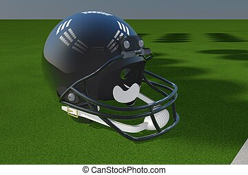 Football helmet over green field