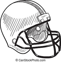 Football helmet sketch - Doodle style football helmet sports...