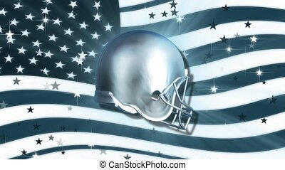 Football Helmet with American Flag Background