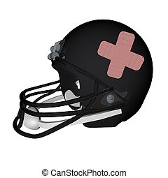 Football helmet with band aids