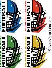 football team design with helmet and facemask for school, college or league