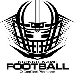 tribal football team design with helmet and facemask for school, college or league