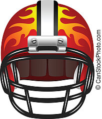 Football helmet with fire