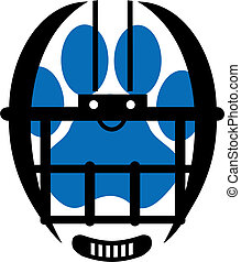football helmet with paw print