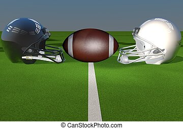 Football helmets fronting each other