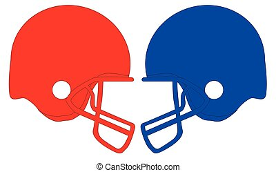 Football helmets Red And Blue