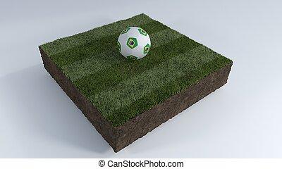 football, herbe, 3d, balle, pièce