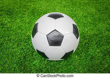 football, herbe, balle verte