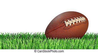 football, herbe, isolé