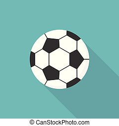 Football icon, flat design vector with long shadow