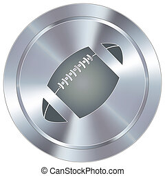 Football icon on industrial button - Football sport icon on...