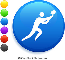 football icon on round internet button original vector illustration 6 color versions included