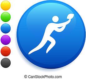 football icon on round internet button