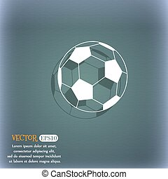 football icon. On the blue-green abstract background with shadow and space for your text. Vector