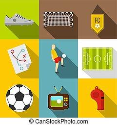 Football icon set, flat style