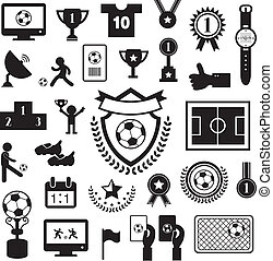football icon set on gray background
