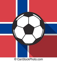 football icon with Norway flag background,long shadow vector