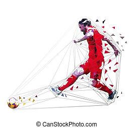 football, illustration, côté, joueur, vecteur, jersey, dépassement, vue., balle, géométrique, rouges