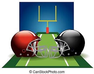 Football, illustration - Football, field with two helmets,...