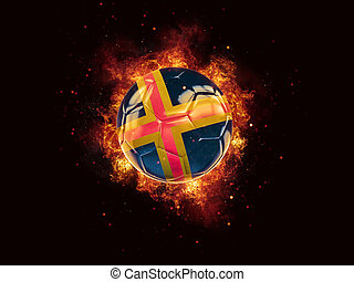 Football in flames with flag of aland islands