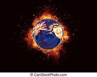 Football in flames with flag of anguilla