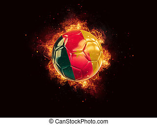 Football in flames with flag of cameroon