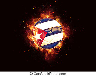 Football in flames with flag of cuba